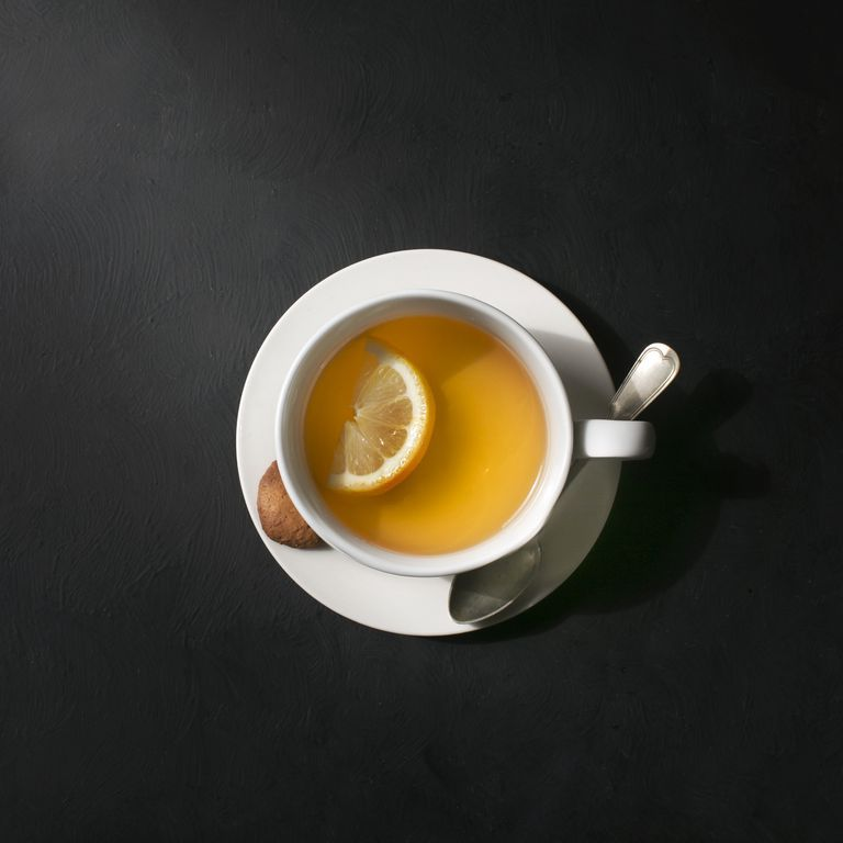A cup of lemon tea.