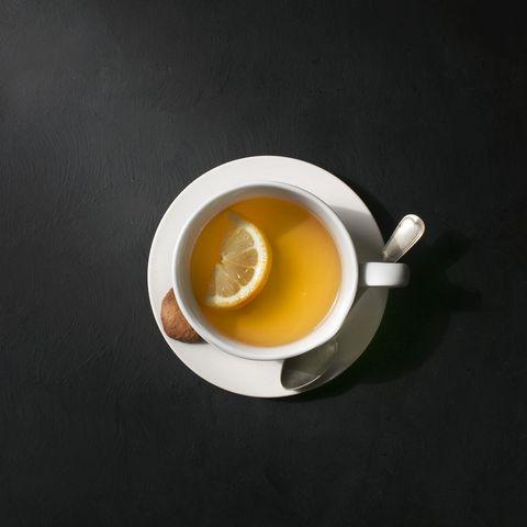 A cup of lemon tea.