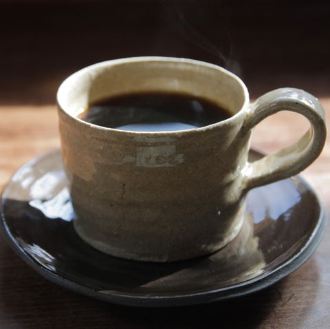 A cup pf coffee in pottery
