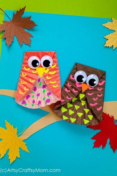 thanksgiving crafts for kids  cupcake liner owl