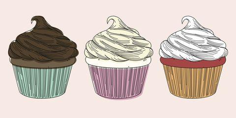 Cupcake, Buttercream, Icing, Cake, Dessert, Baking cup, Food, Illustration, Muffin, Cream,