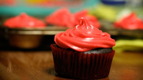 Cupcake, Sweetness, Food, Dessert, Baked goods, Cake, Cuisine, Ingredient, Red, Baking cup,