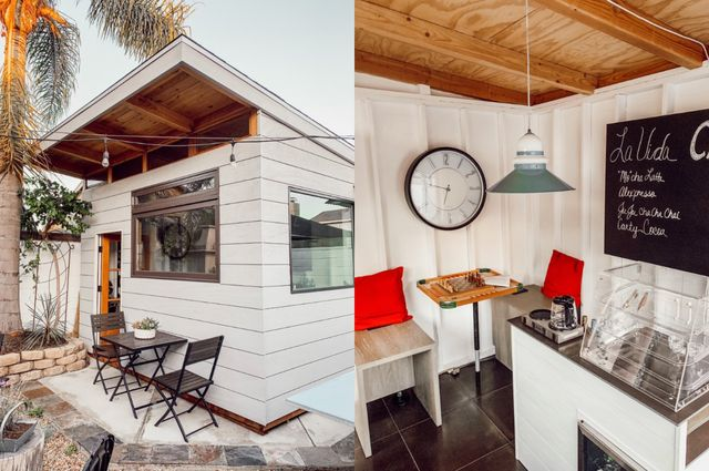 diy backyard coffee shop with white paint and wood accents