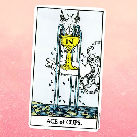 the tarot card the ace of cups, showing a white hand stretching out of the sky, holding a golden cup a dove holding a small white circle is diving into the cup, sending four streams of water into a pond full of lilypads