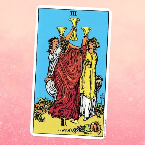 the tarot card the three of cups, showing three white women in robes dancing in a circle, each holding up a golden cup