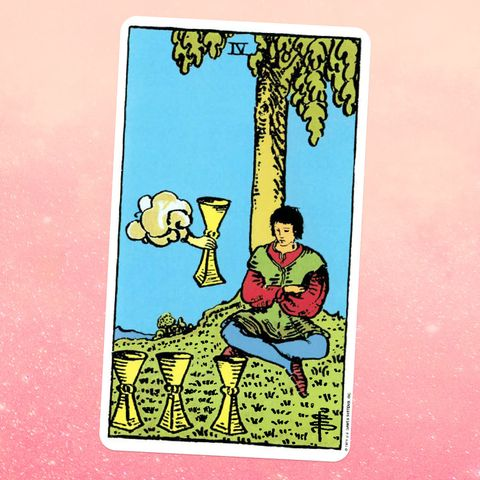 the tarot card the four of cups, showing a person sitting under a tree with three golden cups in front of them a disembodied hand holds out a fourth cup