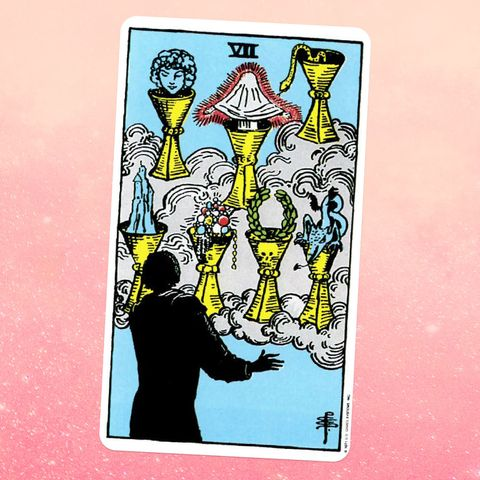the tarot card the seven of cups, showing a silhouette of a person looking at seven gold cups held up by clouds the cups are filled with different items, including a tiny person under a sheet, a snake, and a pile of jewels