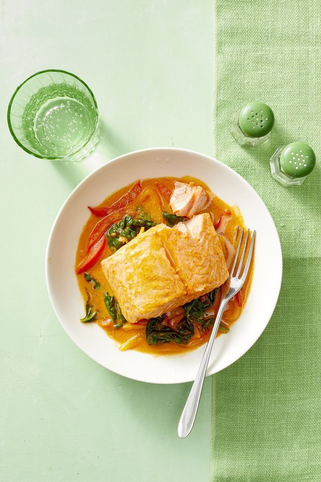 Curry-Poached Salmon with Peppers