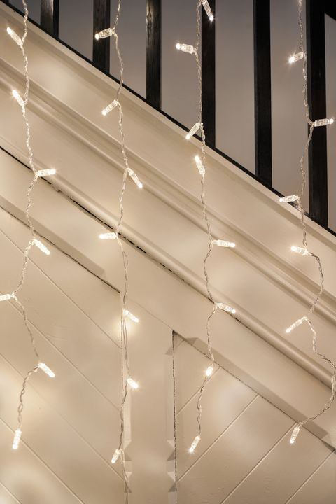 curtain lights along staircase