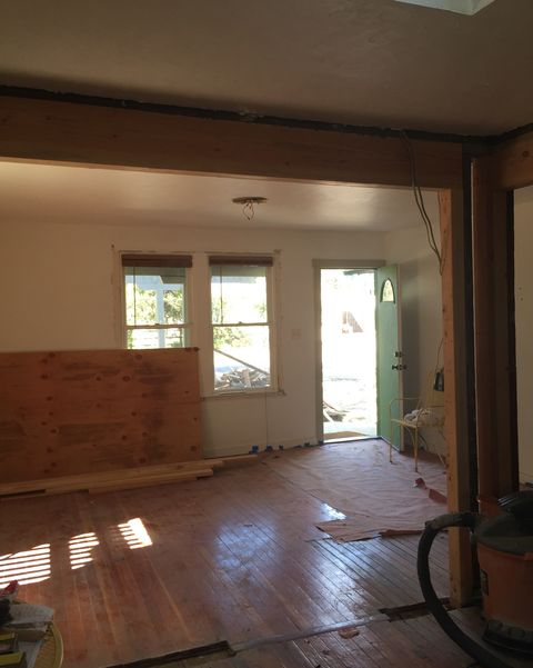 before shot of dated living room
