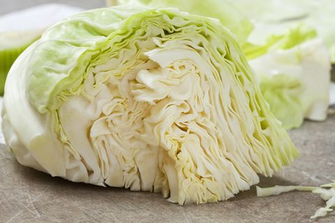 cut white cabbage, close up