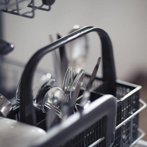 Cutlery in a dishwasher