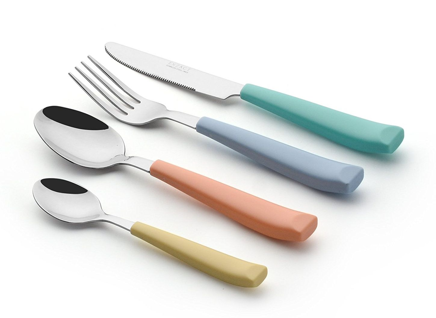 Cutlery - Stainless Steel With Vibrantly Coloured Plastic Wide Handles