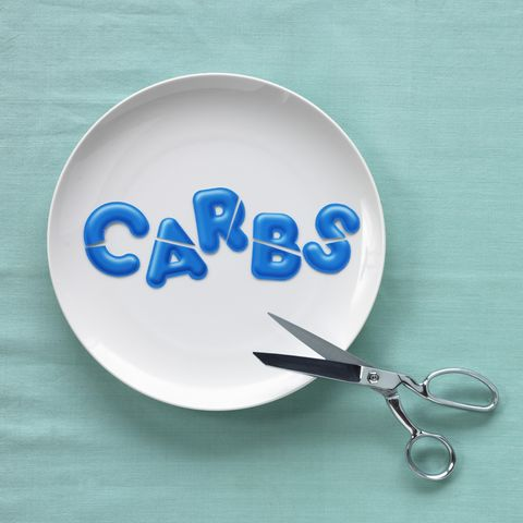 cutting 'carbs' spelled out in bowl