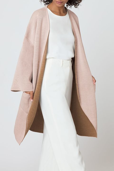 Clothing, White, Outerwear, Dress, Fashion, Coat, Fashion model, Sleeve, Formal wear, Bridal party dress,