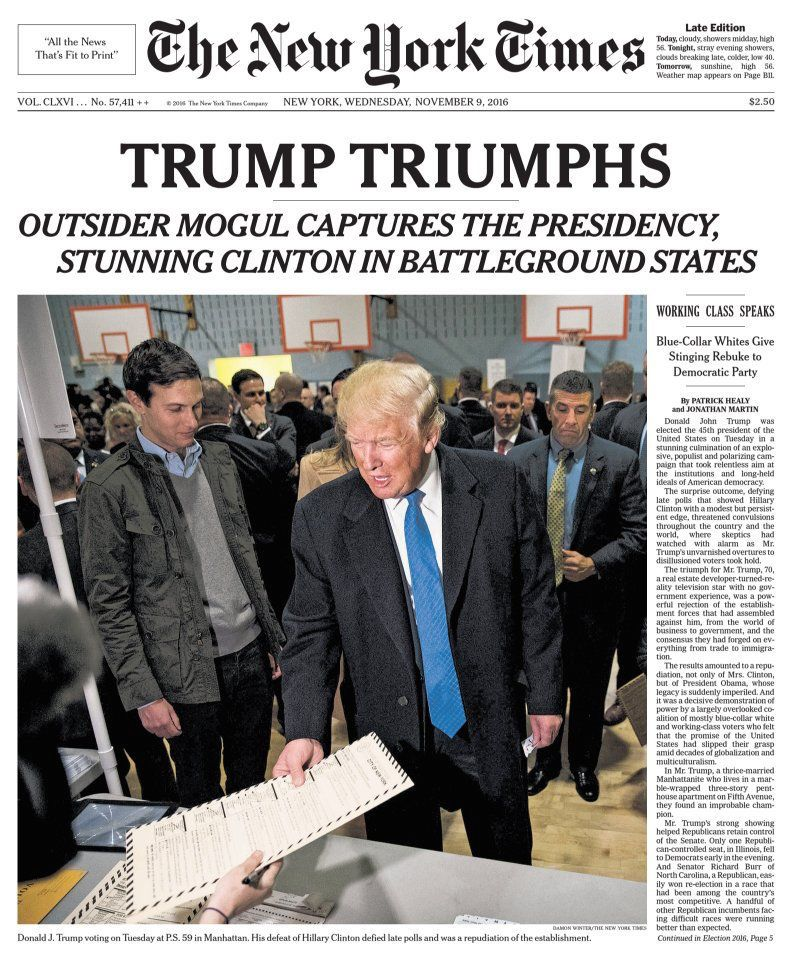 The front page of The New York Times on November 9, 2016 following Donald Trump's victory in the 2016 presidential election.