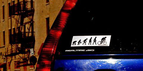 cycling bumper sticker for a car
