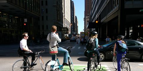 Cyclists on the road.