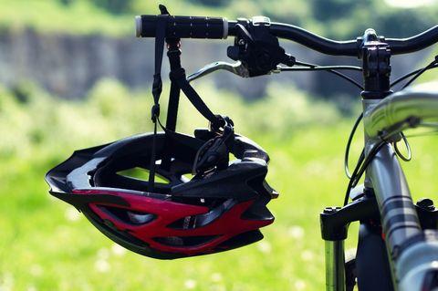Cycling Helmet at park.