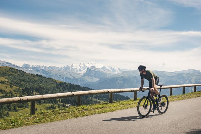cyclist at the top of col de joux plane