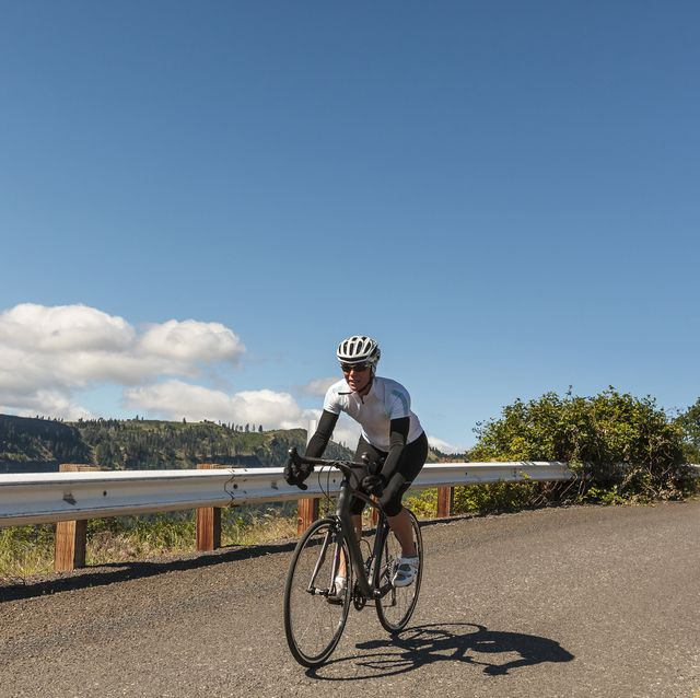 A cyclist on a scenic ride.