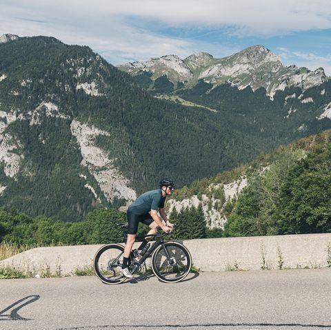 Cyclist on Col de Corbier