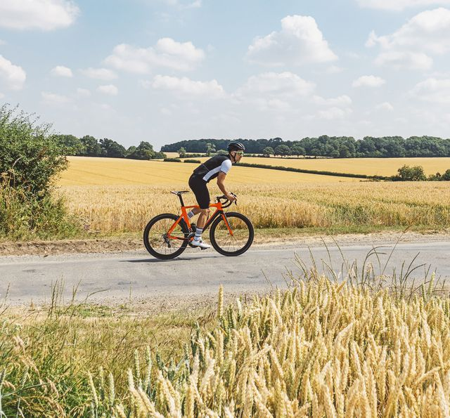 cyclist on country road