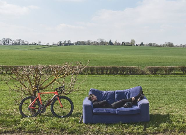 cyclist taking a break mid ride