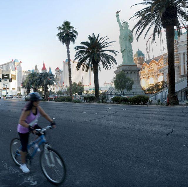 a woman riding a bike in las vegas