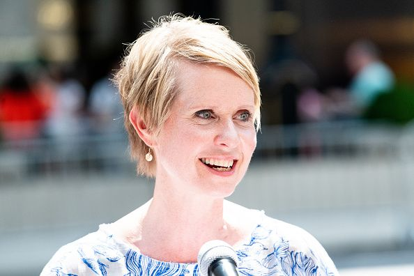 Cynthia Nixon seen speaking.Democratic candidate for New...