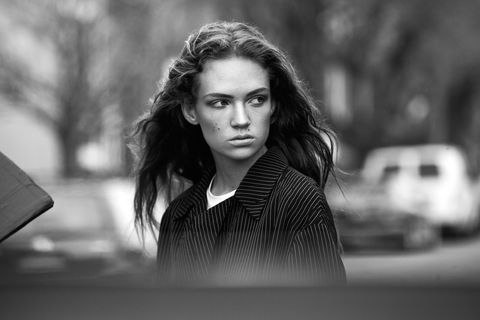 Lip, Mouth, Eye, Eyebrow, Photograph, Eyelash, Style, Monochrome, Monochrome photography, Iris,
