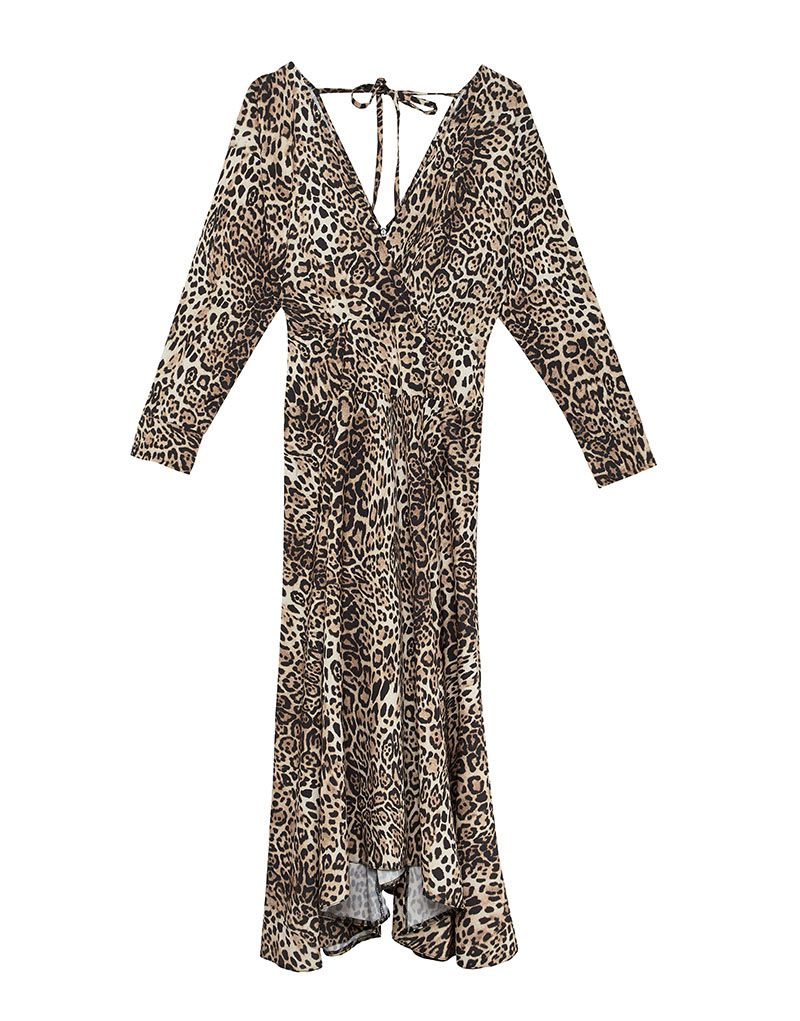 ASOS DESIGN wrap midi dress with long sleeves in leopard print