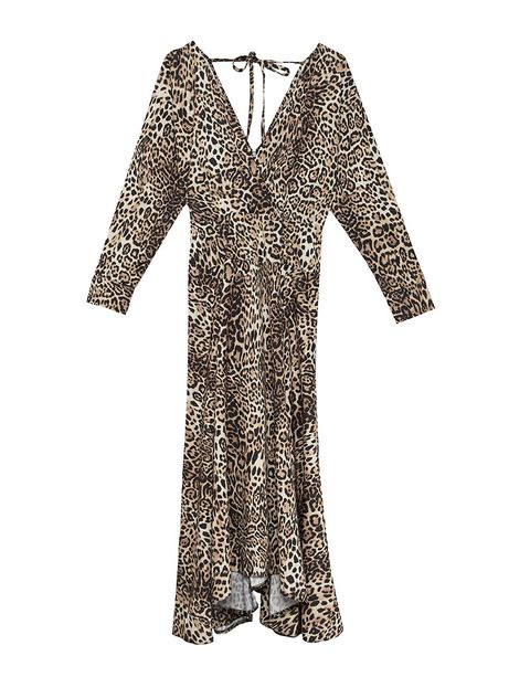 709c2f680a ASOS DESIGN wrap midi dress with long sleeves in leopard print .
