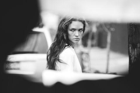 Monochrome, Monochrome photography, Eyelash, Black-and-white, Flash photography, Photography, Street fashion, Snapshot, Portrait photography, Portrait,
