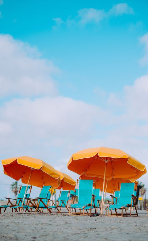 People on beach, Umbrella, Beach, Vacation, Sky, Yellow, Turquoise, Summer, Sand, Sea,