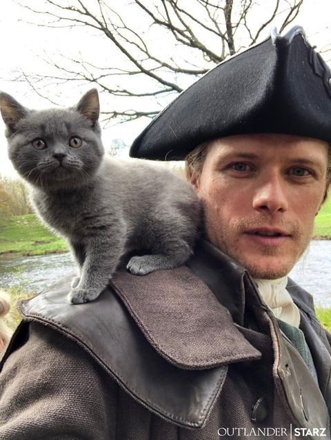 Outlander's Sam Heughan Introduces ADSO the Cat in a New Photo
