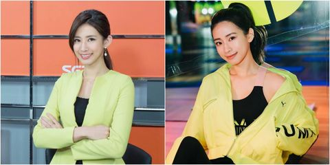 Skin, Yellow, Outerwear, Neck, Makeover, Black hair, Blazer, Smile, Television presenter,