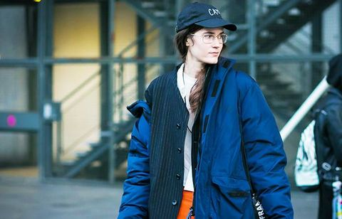 Street fashion, Clothing, Jacket, Fashion, Outerwear, Coat, Electric blue, Headgear, Cap, Cool,