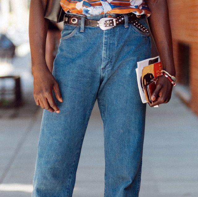 Denim, Jeans, Clothing, Street fashion, Waist, Orange, Fashion, Pocket, Textile, Shoulder,