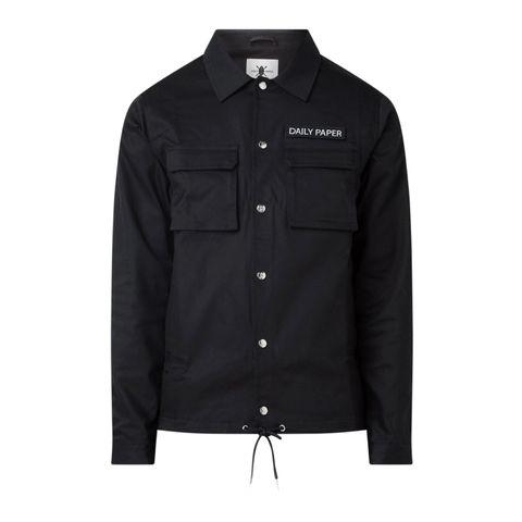 daily paper cargo coach utility jack logo drawstring zwart jacket jas