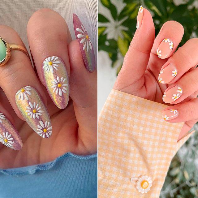 manicura daisy uñas con margaritas