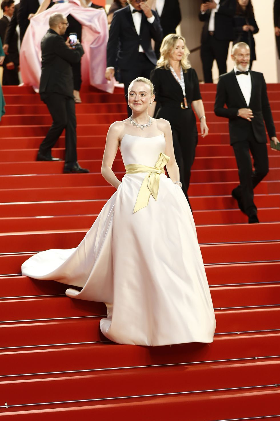 Dakota Fanning In Chopard jewelry at the Once Upon a Time in Hollywood premiere on May 21, 2019.