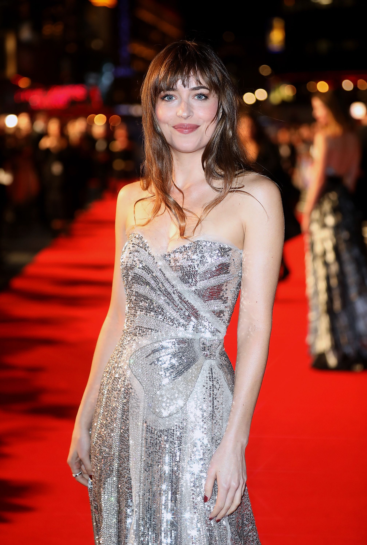 Dakota Johnson Wore Silver Sequin Gucci Princess Gown To Suspiria Uk Premiere At Bfi London Film Festival