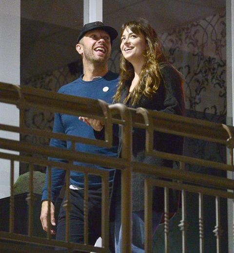 EXCLUSIVE: ** NO TV until November 16th 2018** Dakota Johnson and Chris Martin enjoy a rare romantic dinner in Los Angeles!