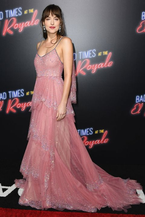 Dakota Johnson had a princess moment in a pink Gucci gown this weekend