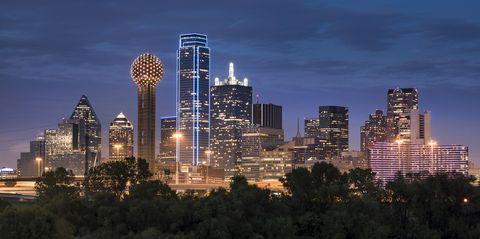 dallas texas skyline and reunion tower panoramic