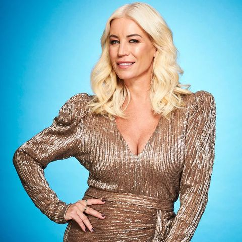 denise van outen wears a sparkly dress as she poses for her dancing on ice 2021 cast photo