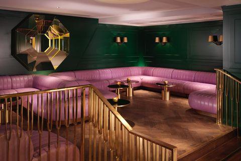 Room, Interior design, Purple, Building, Furniture, Floor,