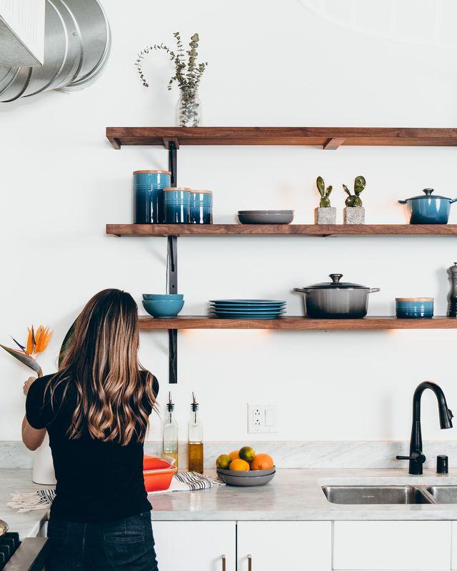 Room, Plumbing fixture, Kitchen, Shelving, Kitchen sink, Tap, Shelf, Dishware, Countertop, Turquoise,