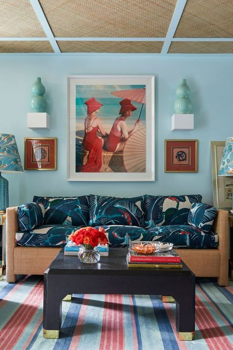 Room, Blue, Interior design, Furniture, Turquoise, Living room, House, Floor, Building, Couch,